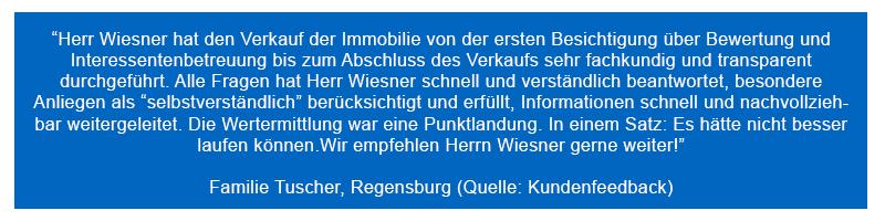 Kundenbewertung Immobilienverkauf in Regensburg